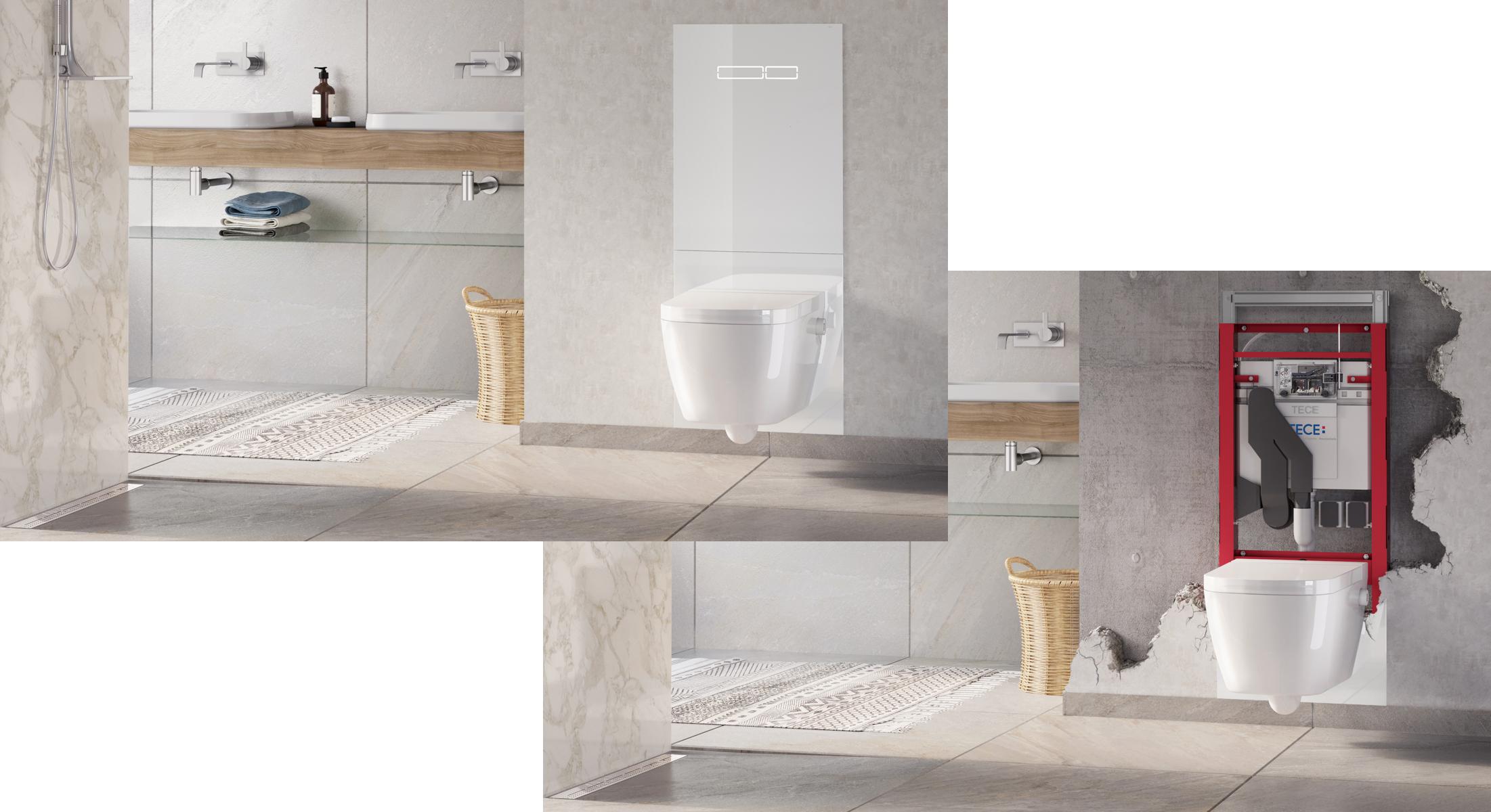 Um Zu Demonstrieren, Wie Ein Toilettensystem Hinter Einer Wand Angebracht  Wird, Haben Wir Ein 3D Modell Eines Badezimmer Aufgebaut, Und Ein  Virtuelles ...